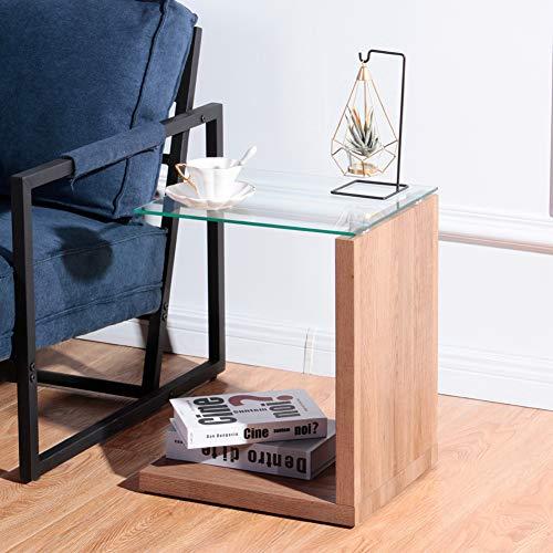 GOLDFAN 2 Livelli di Legno Tavolino Tavolo da Salotto con Vetro Mini Tavolino Moderno e Minimalista Mobile Laterale Divano,Marrone Scuro