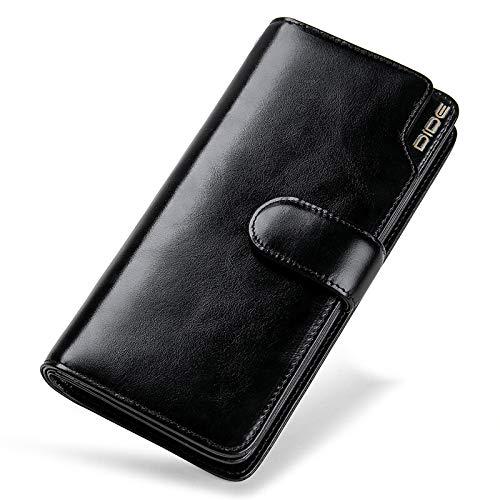 DZX Voorvak Heren Luxe Lederen Portemonnee - Coin Pocket Credit Card Houder Business Heren Lange Hand-Held Portemonnee Zwart