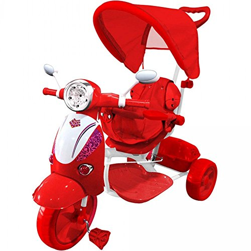 BAKAJI Triciclo Passeggino Scooter Vespina a Pedali a Spinta con Protezioni di Sicurezza per Bambini Manico Direzionabile Cappottina Tettuccio Parasole Luci Suoni (Rosso)