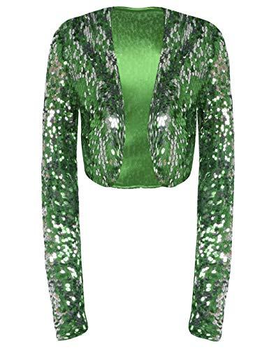 kayamiya Damen Pailletten-Jacke, langärmelig, glitzernd, Bolero Gr. 40 DE/42 DE Large, grün