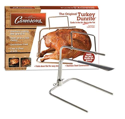 Turkey Roaster - Original Upside Down Turkey Dunrite Stainless Steel Cooker - Keeps Juices Inside Meat, Not Outside the Pan, the Perfect Juicy Turkey