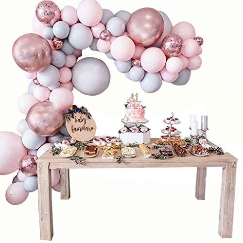Decoraciones para Fiesta de cumpleaños Banner Garland & Arch Kit Foil + Globos de látex, para Fiesta de cumpleaños de niña, niño y Dama (Solo Globos), Gris + Rosa, 170 Globos
