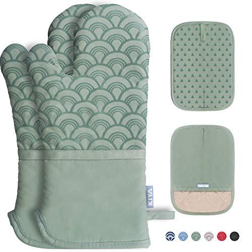 Ofenhandschuhe und Topflappen 4er Set - Extra verdickte Lange Ofenhandschuhe mit rutschfesten Silikon - 100% Baumwolle Füllung zum Kochen Backen Grillen (Grün)