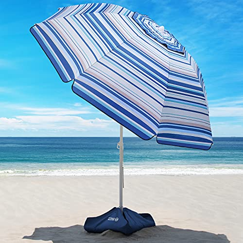 Beach Umbrella - 6.5ft Heavy Duty Windproof Tilt Portable Umbrella with Sand Anchor & Sand Bags UPF 50+ PU Coating with Carry Bag for Patio and Outdoor - Blue White Striped