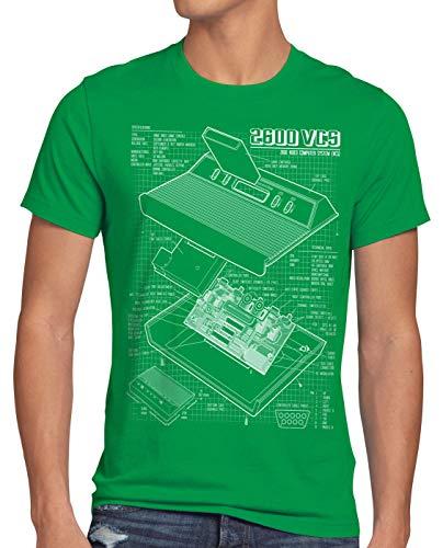 style3 VCS 2600 Cianografica T-Shirt da Uomo Console Videogiochi Classic Gamer, Dimensione:3XL, Colore:Verde