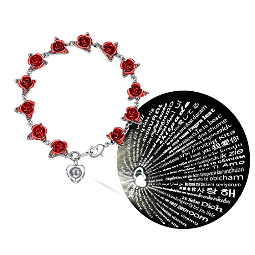 U7 3D Rose Bracelet, with Heart Shape Nanometer Microscopic Carvings 100 Languages I Love You, Wrist Charm Flowers Bangle, Romantic Love Gift, Platinum Plated Women Jewelry Red Rose Bracelet, H4305B