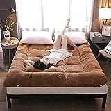LLLZM Schlafen Tatami Bodenmatte, Lammwolle Matratze, Atmungsaktive Dauerhafte MatratzeWeiche Bequeme Student Residenzen Zu Hause Bett Futon Matratze, gray-90x200 cm
