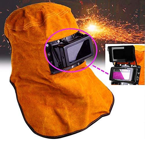 KUNHEWUHUA Leather Welding Helmet Mask Solar Auto Darkening Filter Lens Clamshell Welder Helmet