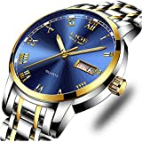 LIGE Watches,Mens Full Stainless Steel Luminous Quartz Watch Fashion Casual Business Dress Wristwatch Waterproof 30M Water