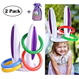 MODOLO 2 Pack Inflatable Bunny Rabbit Ears Ring Toss Game with Rings Easter Party Games for Party Supplies Family Kids (2 Rabbit Ears,8 Rings and 1 Gift Bag)