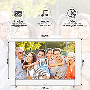 TENSWALL 10 Zoll Digitaler Bilderrahmen hochauflösendes IPS-Display Foto/Musik/Video-Player Kalender Wecker automatischer EIN/aus Timer, unterstützt USB-und SD-Karte, Fernbedienung (Weiß)