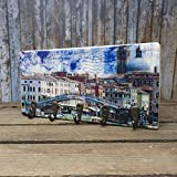 elbPLANKE mit Haken - Venedig Ferrovia   12x24 cm   Schlüsselbrett von Fotoart-Hamburg   mit 5 Antike Haken aus Holz (Kiefer/Fichte) - 100% Handmade