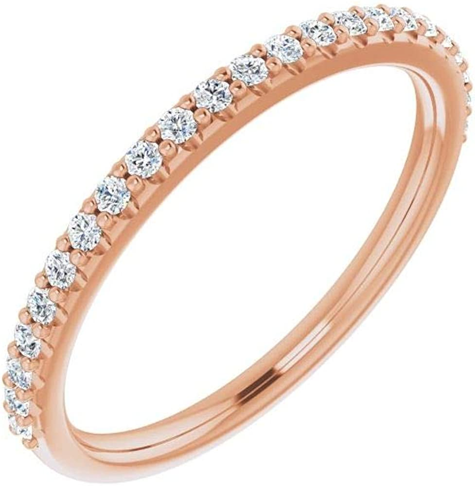 Solid 14k Rose Gold 1/4 Cttw Diamond Curved Notched Wedding Band for 7x5mm Emerald Ring Guard Enhancer - Size 7 (.25 Cttw)