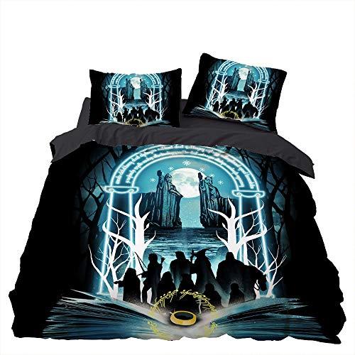 XUNGENG - Juego de cama con impresión 3D Magical Elk Gandalf, microfibra hipoalergénica, funda de edredón y 1/2 fundas de almohada con cremallera, para adultos, Navidad, regalo (estilo E,135 x 200 cm)