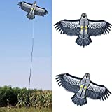 Janny-shop 140×70cm Cometas de águila Cometas Repelentes de Aves Peso Ligero Fácil de Montar Bird Kite para Garden Yard