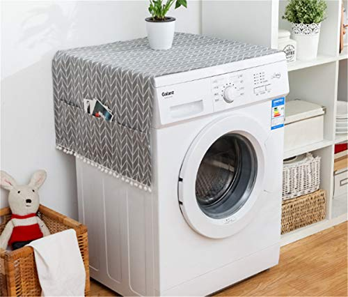 Annchaos Washing Machine Cover Dust Oil Proof Dryer Top Loader Cloth with Side Storage Pockets Cotton Linen Kitchen Refrigerator Appliance Protector (Grey Arrow)