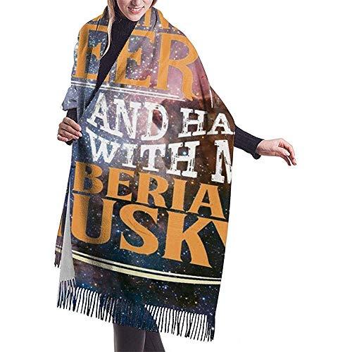 Drink bier Hang met mijn Siberische Husky grappige hond sjaal lichtgewicht oversized mode zachte sjaals franje sjaal wraps
