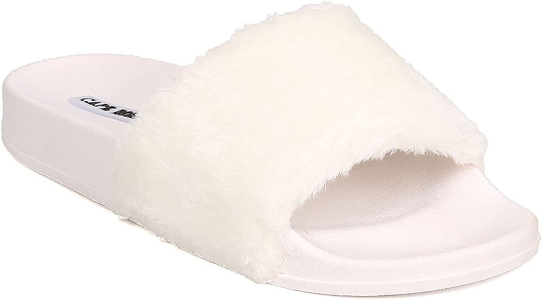 CAPE ROBBIN Women Furry Open Toe Slip On Flat Sandal FG76