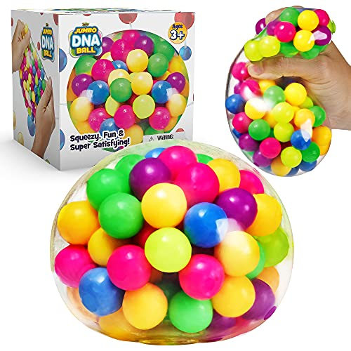 YoYa Toys The Original Jumbo DNA Ball   Colorful Fidget Squeezing Stress Relief Ball for Adults & Kids   Our Unique Rubber Squishy Toys are Great for Stress, Anxiety, Bad Habits & More