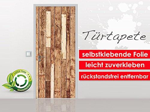 Deurbehang Wood Wall in het formaat 90 x 210 cm - zelfklevende premium folie - gemakkelijk te plakken zonder luchtbellen van trendy muren