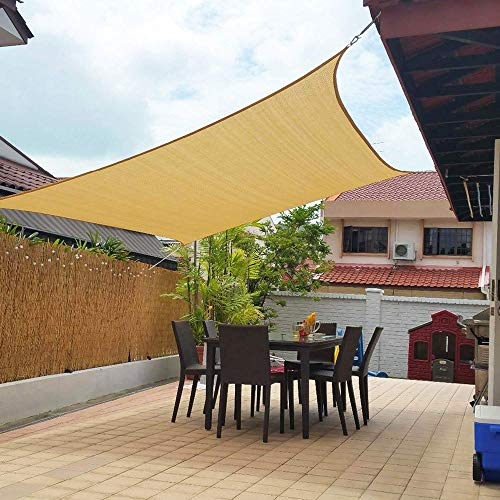 LIINMIG 2pcs Shade - '10x13' rectangle, '11x11x11' triangle awning, terrace, lawn, pergola, etc. UV protection outdoor facilities and activities, sand color