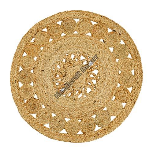 Handicraft Bazarr Alfombra redonda hecha a mano con yute indio, alfombra redonda de 60,96 cm, alfombra para sala de estar, alfombra para habitación central, alfombra de yute tradicional de Chindi