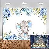 Mehofoto 7x5ft Contexto de la Ducha del bebé Azul del Elefante Fondo Lindo del Elefante para el Fondo de la fotografía del Feliz cumpleaños del Muchacho