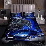richhome Cool Blue Car Coverlet Set King alta velocidad edredón set deporte velocímetro ultra suave juego de ropa de cama para adolescentes 3 piezas con 2 fundas de almohada
