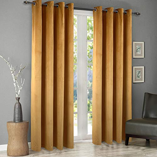 Singinglory Velvet Eyelet Curtains 2 Panels with 2 Tiebacks, Thermal Insulated Lined Velour Window Treatment for Salon or Living Room (Yellow, 66x90)
