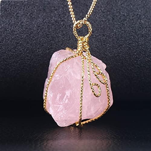 YSJJLRV Edelstein Chakra Steine Suspension Multi Colors Drop Quarz Anhänger Halsketten Gold Farbe Perlen Kette Kristall Frauen Edelstein Stein Stein (Metal Color : Rose Quartz)