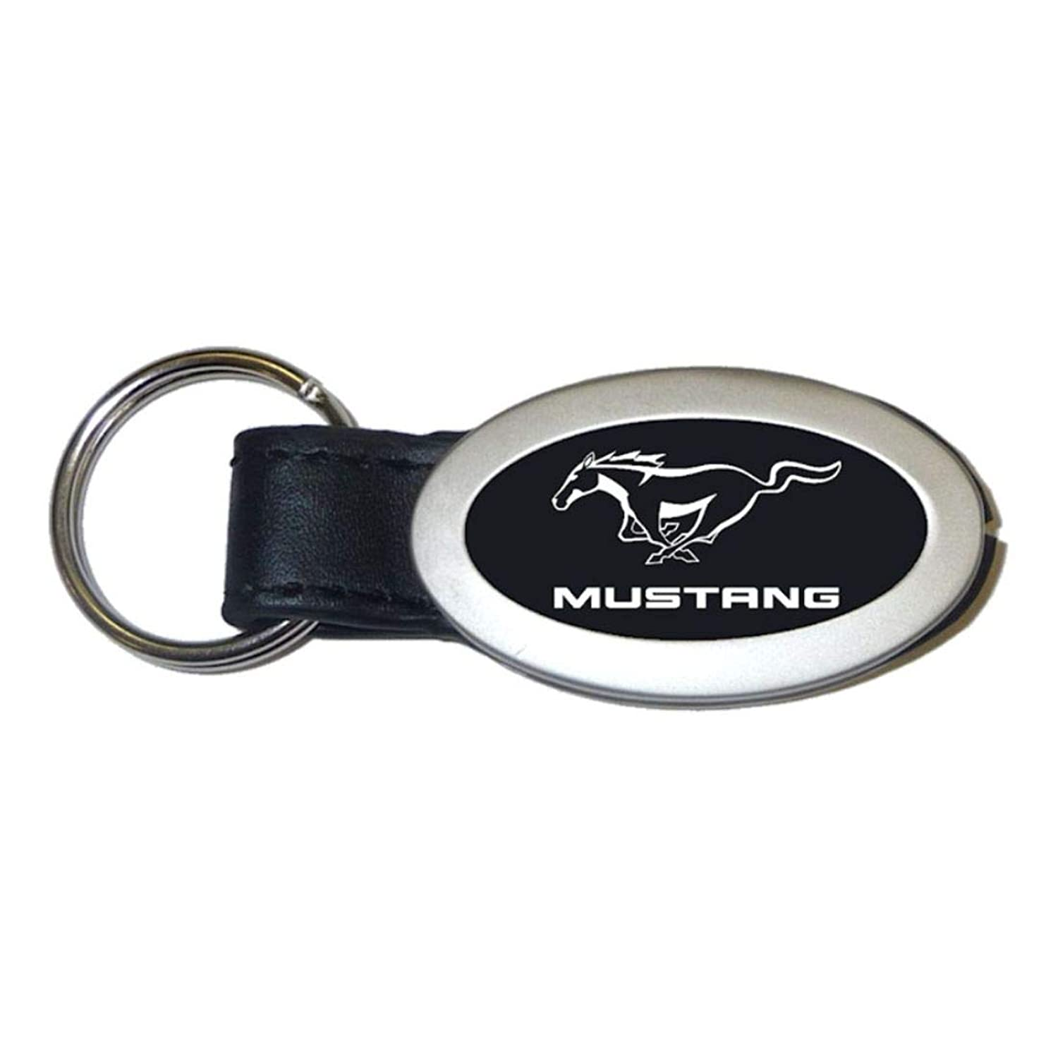 Au-Tomotive Gold, INC. Ford Mustang Black Oval Leather Key Fob Authentic Logo Key Chain Key Ring Keychain Lanyard