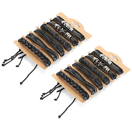 Hztyyier 12 Piezas de Pulseras de Cuero Trenzado para Hombres, Mujeres, Pulsera de Cuentas, Cuerda Tejida, Pulseras Ajustables, Conjunto de Pulseras - # 1