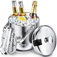 HOKEKI アイスバケツ ステンレススチール 断熱二重壁バーアイスバケツセット 蓋 トング ストレーナー 氷を冷たく乾いた状態に保つ ホームバー ビールを冷やす シャンパンやワインに シルバー