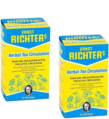 ⭐️ Lot de 2 boîtes Ernst Richter Tisane Circulation ⭐️ 100% à base de plantes naturelles   Pour une circulation active   2 x 20 sachets filtres de 2g Circulation (Lot de 2)