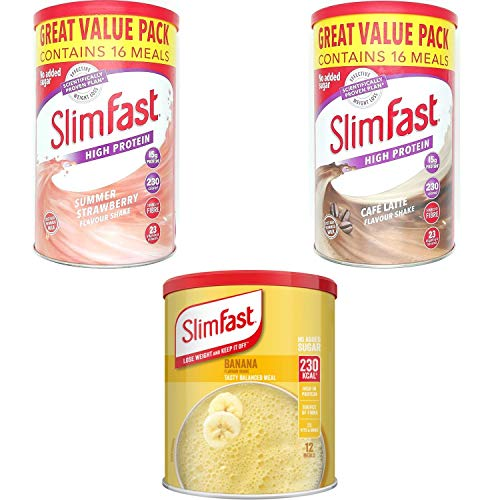 SlimFast KIT Made of High Protein Meal Replacements Shakes (Banana 292g, Strawberry 584g, Cafe Late 584g), 3 Flavours in One Handy Kit