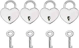 4PCS Alloy Love Heart Shaped Padlock Luggage Lock