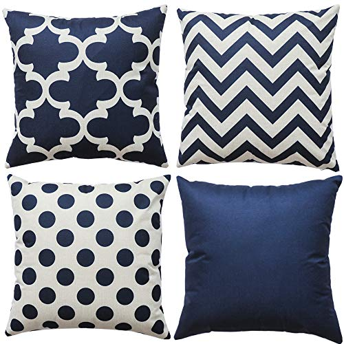WLNUI Set of 4 Navy Blue Decorative Throw Pillow Covers Square Farmhouse Cotton Linen Polka Dot Cushion Cases for Sofa Couch Home Decor 18x18 Inch