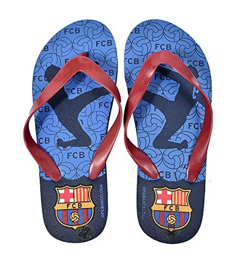 FC Barcelona - Chanclas para niño, Multicolor (870044 azul), 32/33 EU