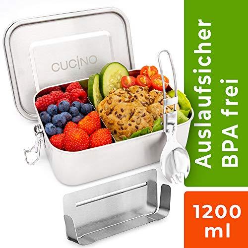 Cucino® | Dichte Edelstahl Brotdose mit Trennwand (flexibel), BPA- & Plastikfreie Bento Box ideal für Kinder & Erwachsene, LFGB Zertifiziert, Ersatzteile für Brotbox verfügbar | 1200ml