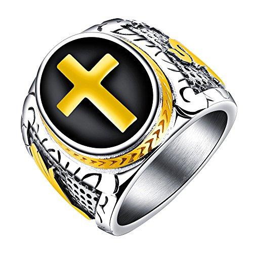 Onefeart roestvrij stalen ring voor mannen jongen retro punk stijl kruis vorm goud overdreven ring