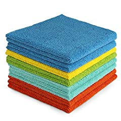 【All-Purpose Microfiber Cleaning Towels】--AIDEA Cleaning Cloths are made of 87% Polyester 13% Polyamide. Softer, More Absorbent, Lint-Free. 【Soft & Lint Free】--Multifunctional Cleaning Cloths, and works with plain water. Ultra-soft, non-abrasive micr...
