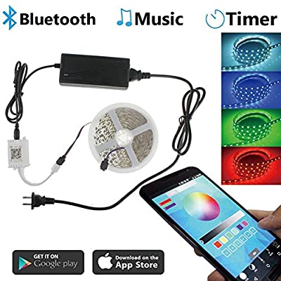 Led Strip lights,Song-Wing SMD 5050 RGB LED Light Strip 12V Kit ,16.4ft 5M 300leds Rope Lighting Tape By Bluetooth Controller APP iOS iPhone With Power Supply