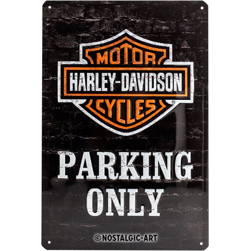 Nostalgic-Art Retro Blechschild, Harley-Davidson – Parking Only – Geschenk-Idee für Motorrad-Fans, aus Metall, Vintage-Dekoration, 20 x 30 cm