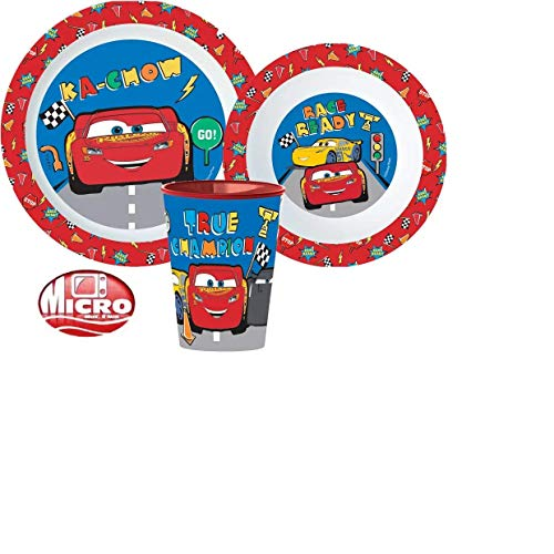 Little Flight Cars Rayo McQueen - Juego de papilla escolar, plato, vaso y cuenco de plástico rígido para Micronde Cars Rayo McQueen (1 plato, 1 taza, 1 cuenco)