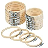 QLOUNI 20Pcs Embroidery Hoops Set, 3 inch 4 inch Wooden Round Adjustable Bamboo Circle Cross Stitch Hoop Ring for Embroidery and Cross Stitch Art Craft Handy Sewing (2 Size)