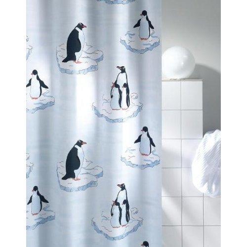 DUSCHVORHANG PINGUIN im Stoffbeutel 180cm breit x 200cm lang Textil inkl. Ringe shower curtain