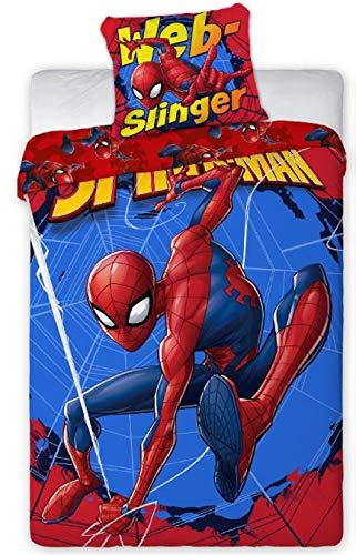 Housse de Couette Spiderman 140x200 cm + Taie d'oreiller 65x65 cm Spiderman (rouge, 140x200)