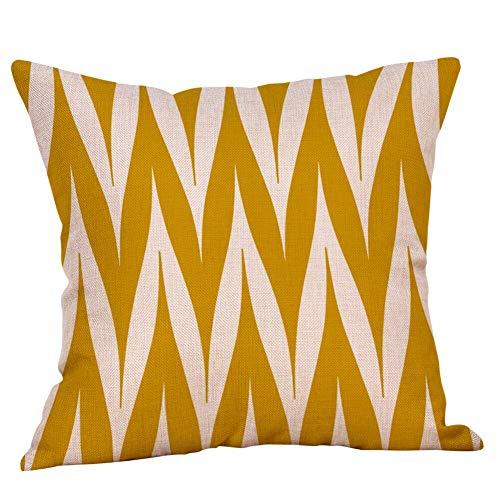 PPMP Kissenbezug gelb geometrische Baumwolle Leinen Kissenbezug Herbst Wohnkultur Schlafsofa Kissenbezug A4 45x45cm 2St