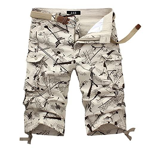 BIBOKAOKE Pantaloncini cargo da uomo, mimetici, con stampa, casual, estivi, vestibilità...
