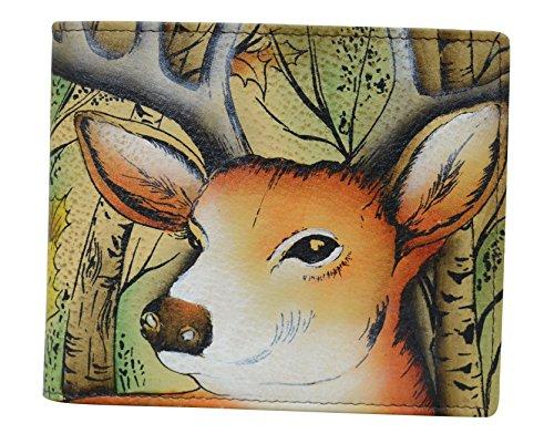 Anuschka handbemalte Designer-Leder-Geldbörse für Herren | RFID-Blockierendes Einzel-Falt-Portemonnaie Gr. One Size, Wald Buck